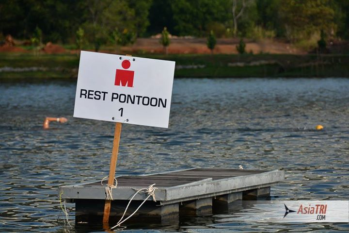 Several rest Pontoons on the swim course - provides beginners a chance to take a break