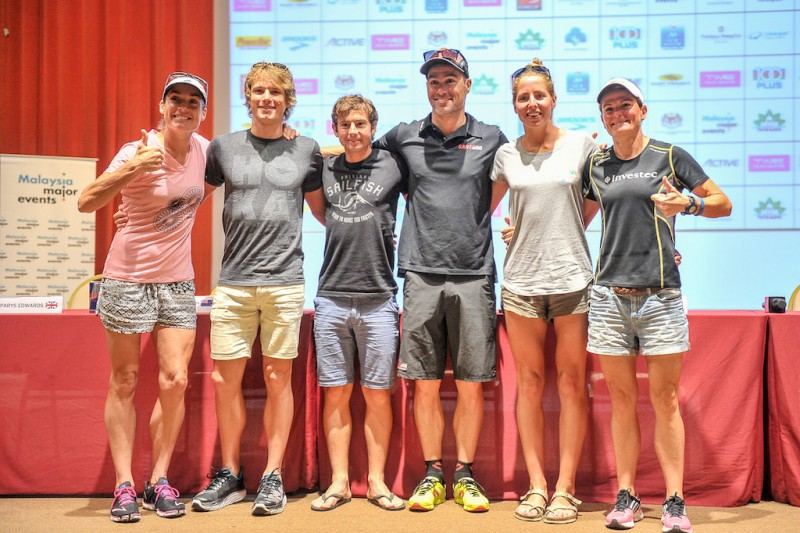 Pros at the Press Conference - From left - Keat, Amberger, Croneborg, Alexander, Watkinson and Edwards