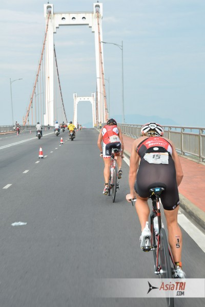 "A bridge is the only ""hill"" of the Ironman 70.3 Vietnam bike course"