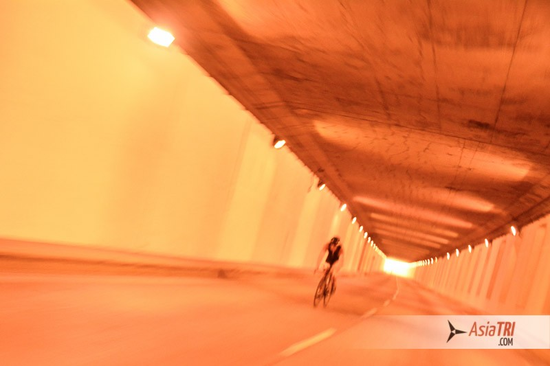 Riding through a tunnel adds an extra fun touch to the course