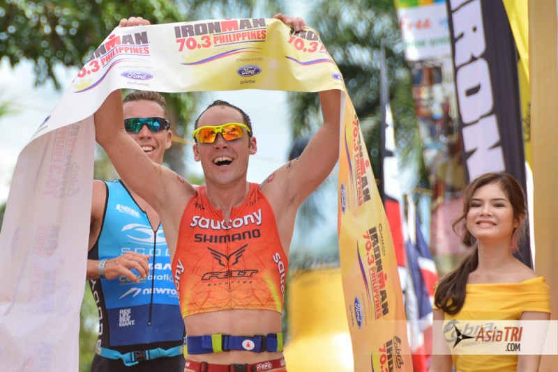Tim Reed outsprinted Tim Van Berkel to take the win at the 2015 Cobra Ironman 70.3 in Cebu, Philippines