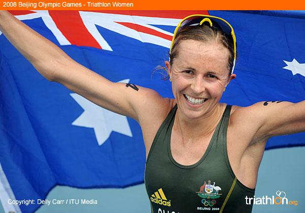 Emma Snowsill after winning gold in Beijing 2008