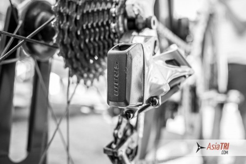 The details of the electronic derailleur (with WiFi) of Frodeno's bike