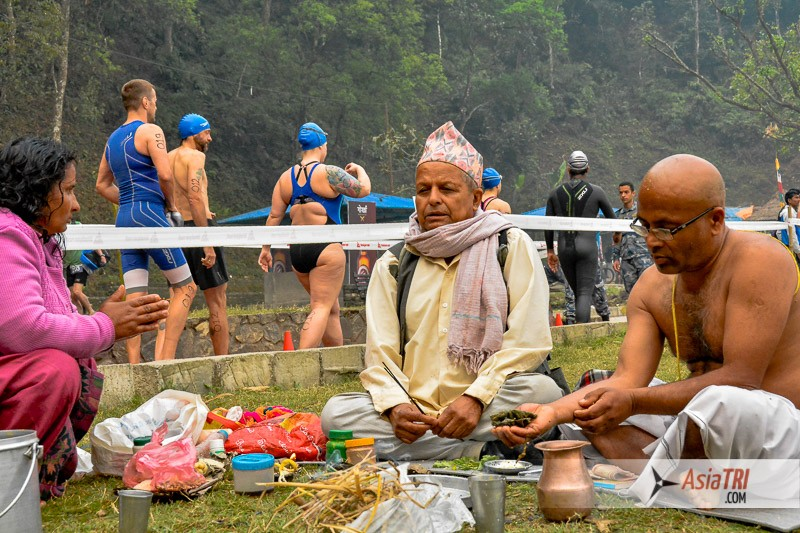 Swimmers heading to the start line of the Himalayan Rush