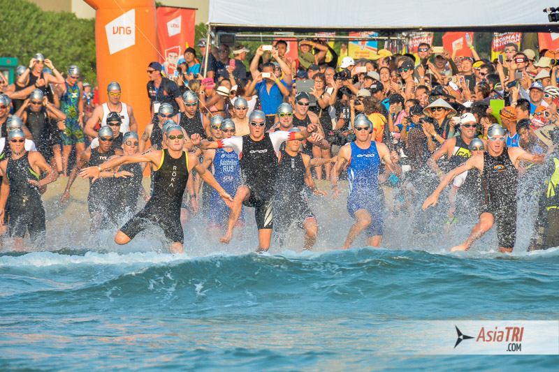 The swim start at Ironman 70.3 Vietnam