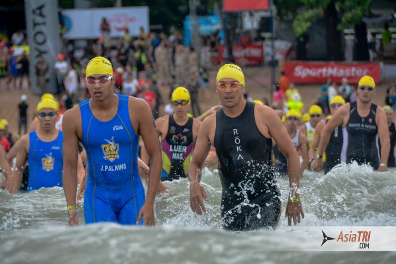 Macca on the swim start of the Sprint Distance race