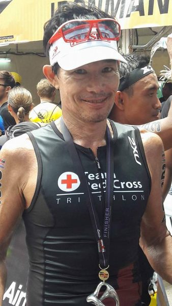 Racing for the Team Red Cross at his 147th triathlon, Ironman 70.3 Cebu